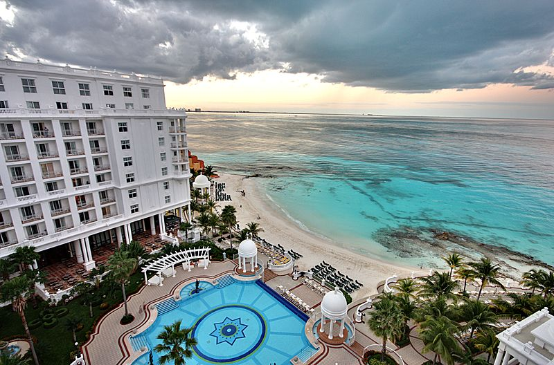 View-from-the-balcony-at-the-Riu-Palace-Las-Americas-resort-Cancun-Mexico